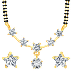 Pissara Classy Star Gold Plated CZ Mangalsutra Set For Women