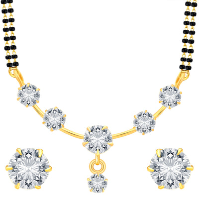 Pissara Modish Gold Plated CZ Mangalsutra Set For Women