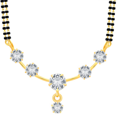 Pissara Modish Gold Plated CZ Mangalsutra Set For Women-1