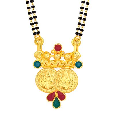 Sukkhi Appealing Laxmi Temple Coin Gold Plated Mangalsutra Set For Women-1