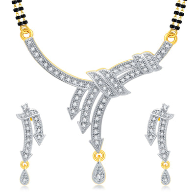 Pissara Ritzy Gold Plated CZ Mangalsutra Set For Women