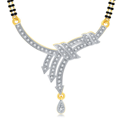 Pissara Ritzy Gold Plated CZ Mangalsutra Set For Women-1