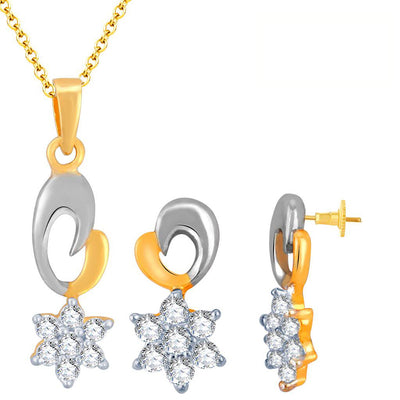 Pissara Stunning Gold and Rhodium Plated Imported CZ Pendant Set