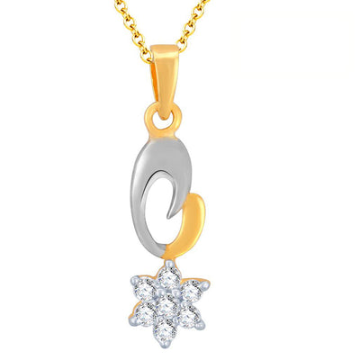 Pissara Stunning Gold and Rhodium Plated Imported CZ Pendant Set-1