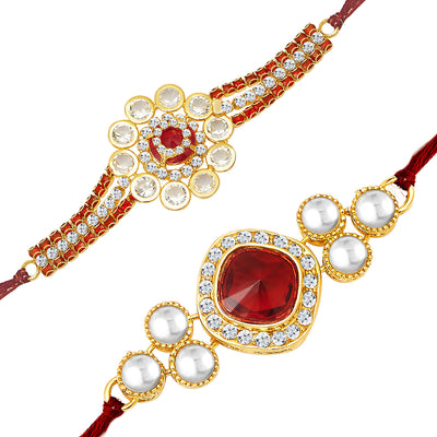 Sukkhi Gold Plated Set of 2 Designer Rakhi Combo