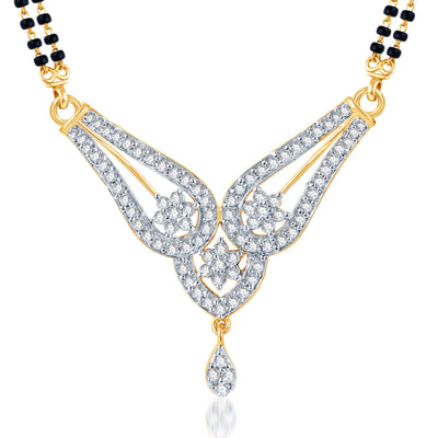 Pissara Gleaming CZ Gold and Rhodium Plated Mangalsutra Set-1