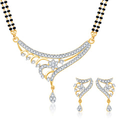 Pissara Ritzzy CZ Gold and Rhodium Plated Mangalsutra Set