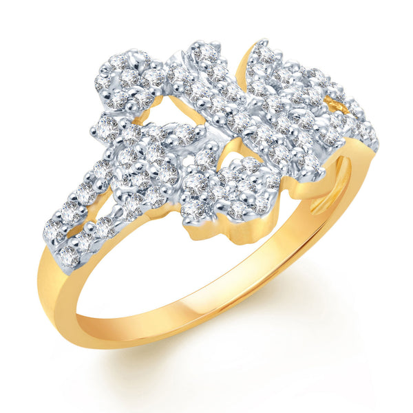 Pissara Indian Wedding Gold and Rhodium Plated CZ Ring