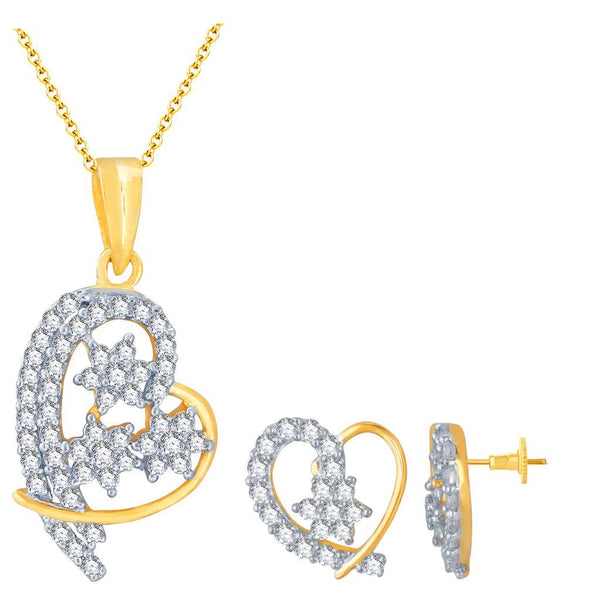 Pissara Ritzzy Gold and Rhodium Plated Imported CZ Pendant Set