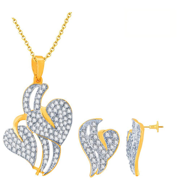 Pissara Splendid Gold and Rhodium Plated Imported CZ Pendant Set