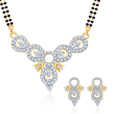 Pissara Eye-Catchy CZ Gold and Rhodium Plated Mangalsutra Set