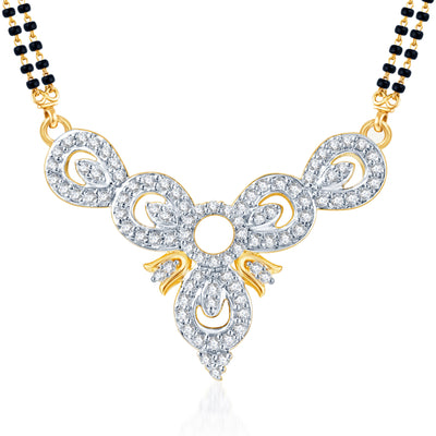 Pissara Eye-Catchy CZ Gold and Rhodium Plated Mangalsutra Set-1