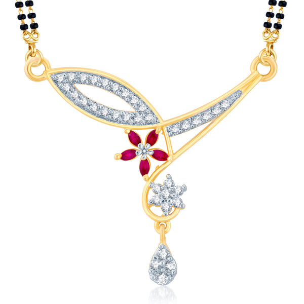 Pissara Wavy Gold and Rhodium Plated Cubic Zirconia and Ruby Stone Studded Mangalsutra Pendant