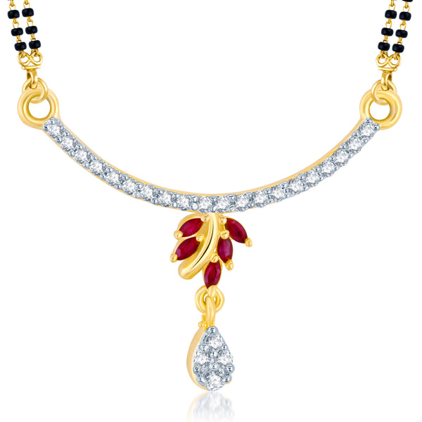 Pissara Charming Gold and Rhodium Plated Cubic Zirconia and Ruby Stone Studded Mangalsutra Pendant