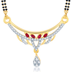 Pissara Royal Gold and Rhodium Plated Cubic Zirconia and Ruby Stone Studded Mangalsutra Pendant