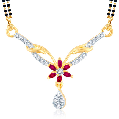 Pissara Incredible Gold Plated CZ Set of 3 Mangalsutra Combo For Women-2