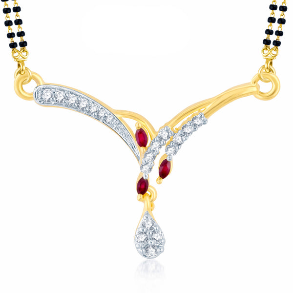 Pissara Finely Gold and Rhodium Plated Cubic Zirconia and Ruby Stone Studded Mangalsutra Pendant