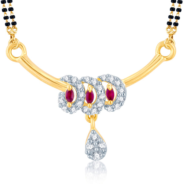 Pissara Shimmering Gold and Rhodium Plated Cubic Zirconia and Ruby Stone Studded Mangalsutra Pendant