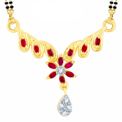 Pissara Stylish Gold Plated CZ Set of 3 Mangalsutra Combo For Women-1