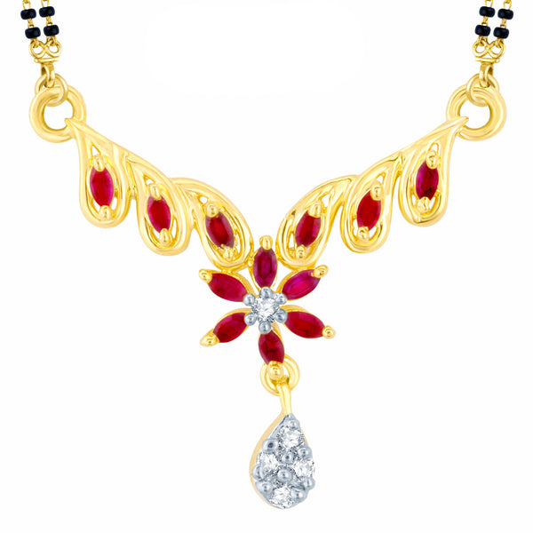 Pissara Astonishing Gold and Rhodium Plated Cubic Zirconia and Ruby Stone Studded Mangalsutra Pendant