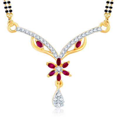 Pissara Stylish Gold Plated CZ Set of 3 Mangalsutra Combo For Women-2