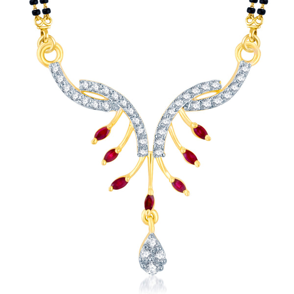 Pissara Fashionable Gold and Rhodium Plated Cubic Zirconia and Ruby Stone Studded Mangalsutra Pendant