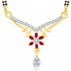 Pissara Cluster Gold and Rhodium Plated Cubic Zirconia and Ruby Stone Studded Mangalsutra Pendant