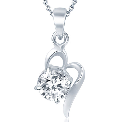 Pissara Splendid Rhodium Plated Solitaire CZ Pendant Set-1