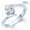 Pissara Angelic Rhodium Plated Solitaire CZ Ring