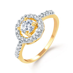 Sukkhi Pretty Gold and Rhodium Plated CZ Ring