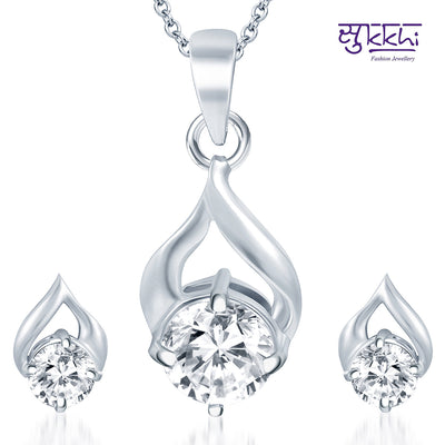Pissara Fabulous Rhodium Plated Solitaire CZ Pendant Set