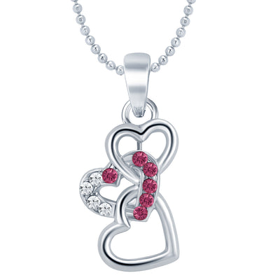 Sukkhi Delightly Heart Rhodium Plated AD Set of 3 Pendant Combo For Women-1