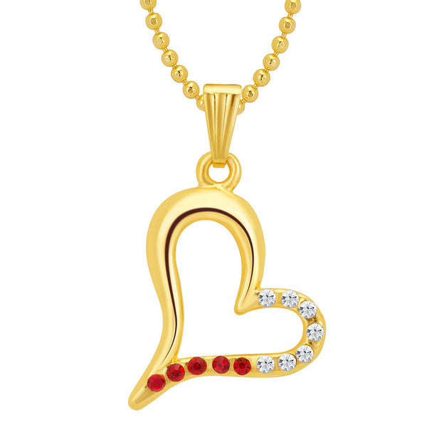 Sukkhi Pleasing Gold and Rhodium Plated Valentine Heart Pendant with Chain