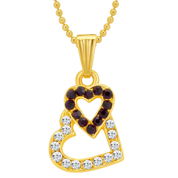 Sukkhi Moddish Gold and Rhodium Plated Valentine Heart Pendant with Chain