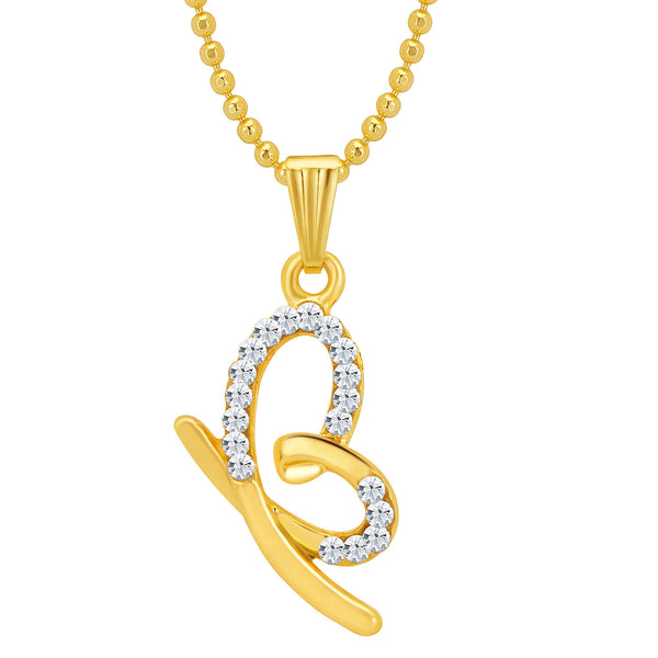 Sukkhi Marvellous Gold and Rhodium Plated Valentine Heart Pendant with Chain