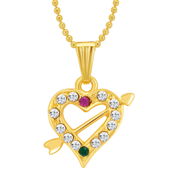 Sukkhi Marquise Gold and Rhodium Plated Valentine Heart Pendant with Chain
