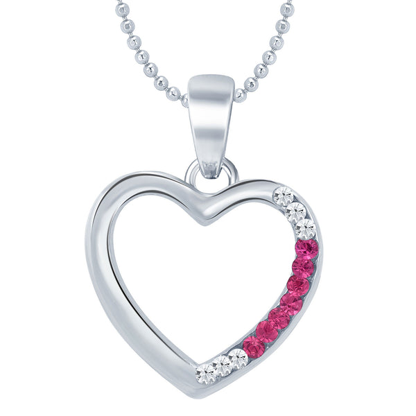 Sukkhi Luxurious Rhodium Plated Valentine Heart Pendant with Chain