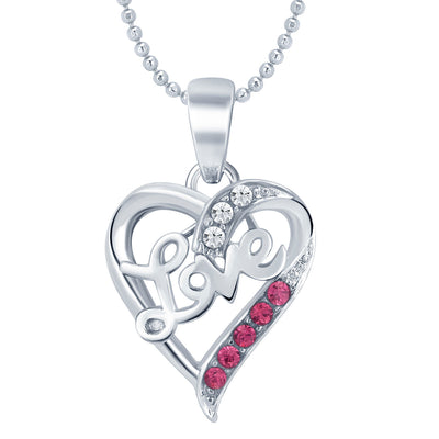 Sukkhi Delightly Heart Rhodium Plated AD Set of 3 Pendant Combo For Women-3