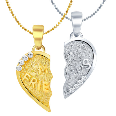 Sukkhi MY FRIENDS Gold and Rhodium Plated 2 in 1 Valentine Broken Heart Pendant with Chain