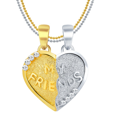 Sukkhi MY FRIENDS Gold and Rhodium Plated 2 in 1 Valentine Broken Heart Pendant with Chain-1