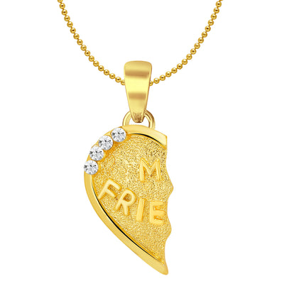 Sukkhi MY FRIENDS Gold and Rhodium Plated 2 in 1 Valentine Broken Heart Pendant with Chain-2