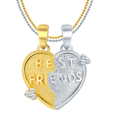 Sukkhi BEST FRIENDS Gold and Rhodium Plated 2 in 1 Valentine Broken Heart Pendant with Chain-1
