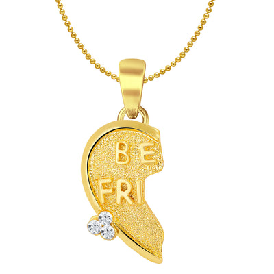 Sukkhi BEST FRIENDS Gold and Rhodium Plated 2 in 1 Valentine Broken Heart Pendant with Chain-2