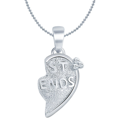 Sukkhi BEST FRIENDS Gold and Rhodium Plated 2 in 1 Valentine Broken Heart Pendant with Chain-3