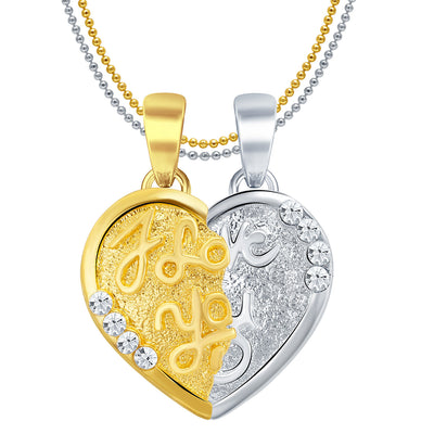 Sukkhi I LOVE YOU Gold and Rhodium Plated 2 in 1 Valentine Broken Heart Pendant with Chain-1