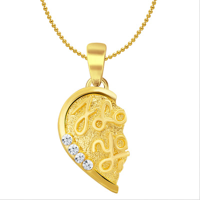 Sukkhi I LOVE YOU Gold and Rhodium Plated 2 in 1 Valentine Broken Heart Pendant with Chain-2