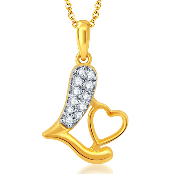 Pissara Stylish Gold and Rhodium Plated CZ Love Pendant With Chain