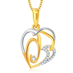 Pissara Graceful Gold and Rhodium Plated CZ Heart Pendant With Chain