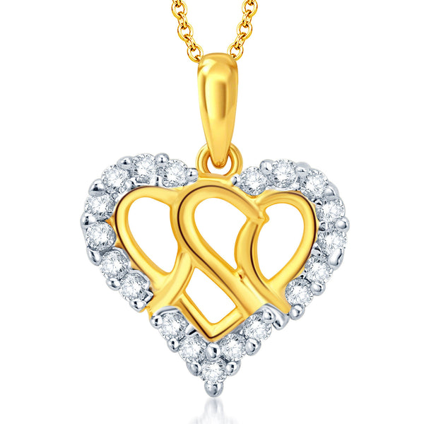 Pissara Delightful Gold and Rhodium Plated CZ Heart Pendant With Chain