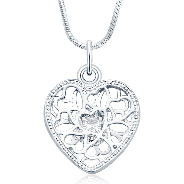 Sukkhi Marvellous Rhodium Plated Austrian Crystal Valentine Heart Pendant With Chain